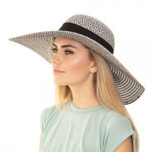 Black Two tone bow wide brim floppy sun hat